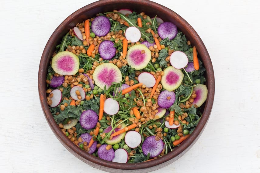 vegan, high-protein version of low FODMAP Greens Salad with Radishes & Peas