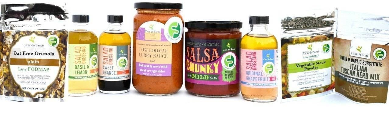 A selection of just some of Casa De Sante's FODMAP Friendly Low FODMAP Certified product line.
