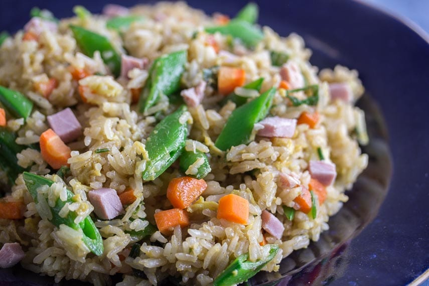 Low FODMAP fried rice with ham; closeup