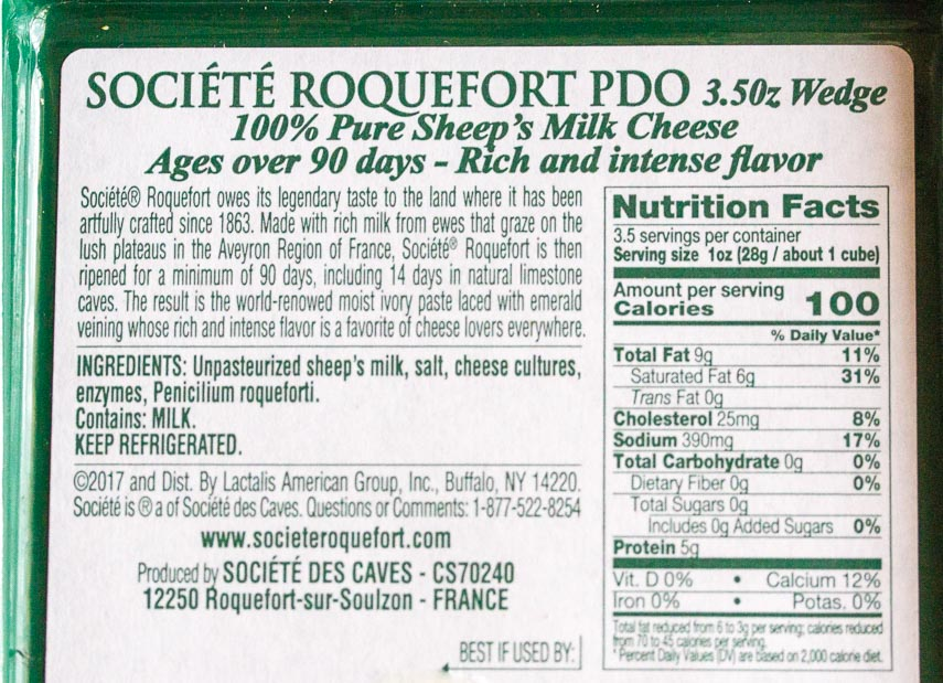 Roquefort cheese label
