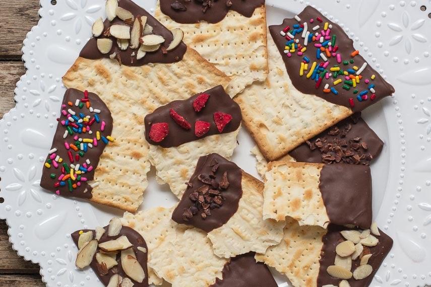 closeup of low FODMAP chocolate covered matzoh