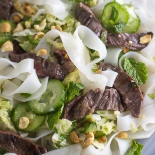 extreme closeup up Asian steak and noodle salad