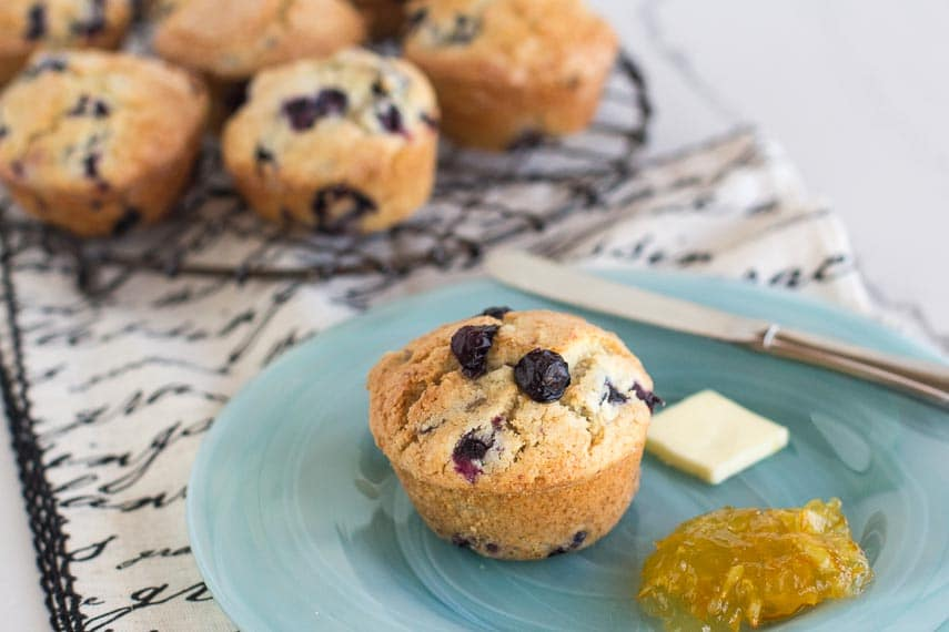 fresh low FODMAP blueberry muffins are a perfect breakfast or snack