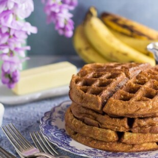 low FODMAP Banana Oat Waffles on blue and white plate