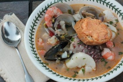 low FODMAP Bouillabaisse in a shallow bowl