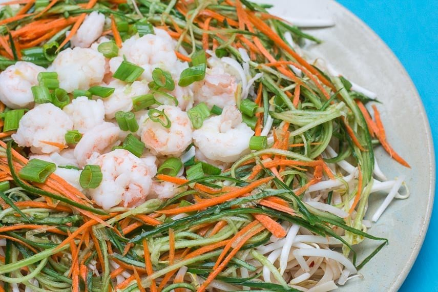 side view of Low FODMAP Spicy Sichuan Noodles and Shrimp Salad against turquoise background