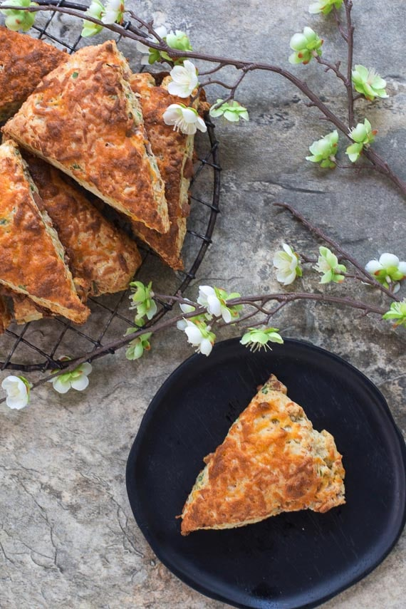 vertical image of low FODMAP Ham & Cheese Scones - Gluten-Free!