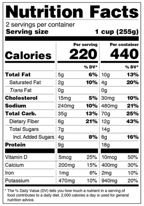 FDA dual column Nutrition Facts Label