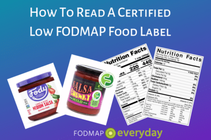 Featured Image for Article About How To Read A Certified Low FODMAP Product Label - a collage of two photos of salsa jars and two nutrition panesl on a purple background.