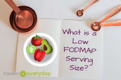 a graphic of measuring cups and spoons with the text What is a Low FODMAP serving size