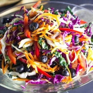 closeup of Low FODMAP Eat the Rainbow Slaw in a clear glass bowl; dressing and serving implements in background