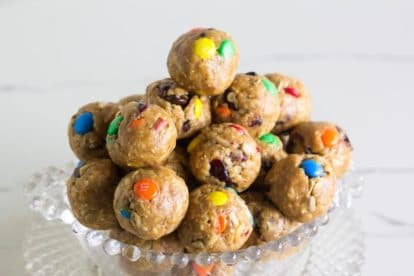pile of Low FODMAP Trail Mix Energy balls in clear glass bowl