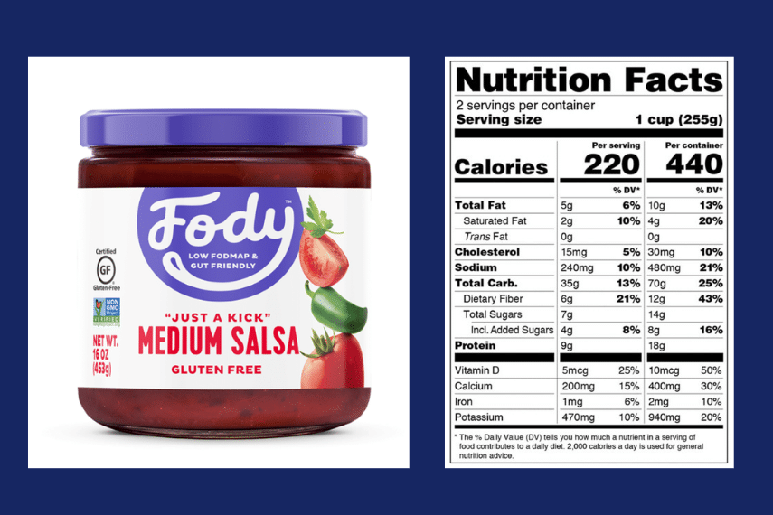 Jar of Fody Foods Medium Salsa shown alongside the Nutrition Label with the Monash University Low FODMAP Certification Logo; learn Casa De Sante Medium Salsa Jar next to the nutrition panel for the same jar. Learn Schar bread label; learn salad dressing labels showing Certification; learn Graphic of Low FODMAP Certified Product Logos; learn How To Read A Low FODMAP Certified Food Product Label