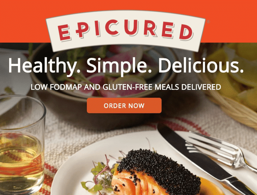 Epicured Ad with logo, over text that says Healthy, Simple. Delicious - and order now. With a picture of beautifully prepared salmon on a plate with a glass of wine.