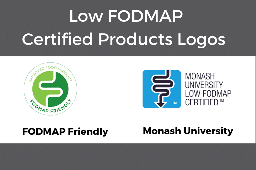 Graphic of Low FODMAP Certified Product Logos; learn How To Read A Low FODMAP Certified Food Product Label