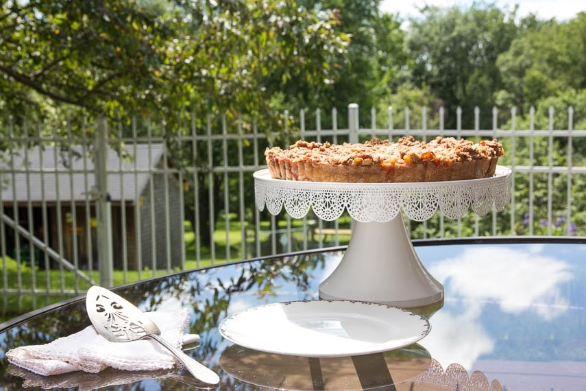 Low FODMAP Rhubarb Cheesecake Tart on white pedestal, oustide on glass table in grassy yard