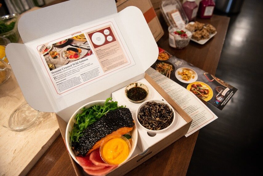 Sesame Crusted Wild Salmon with Wild Rice, Carrot Purée & Goma-dare Sauce in a box