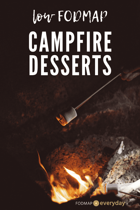 """Stick with marshmallow roasting over a fire with text reading """"Low FODMAP campfire desserts"""""""