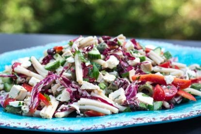 close side view of Low FODMAP Mediterranean Pasta Salad on an oval aqua platter