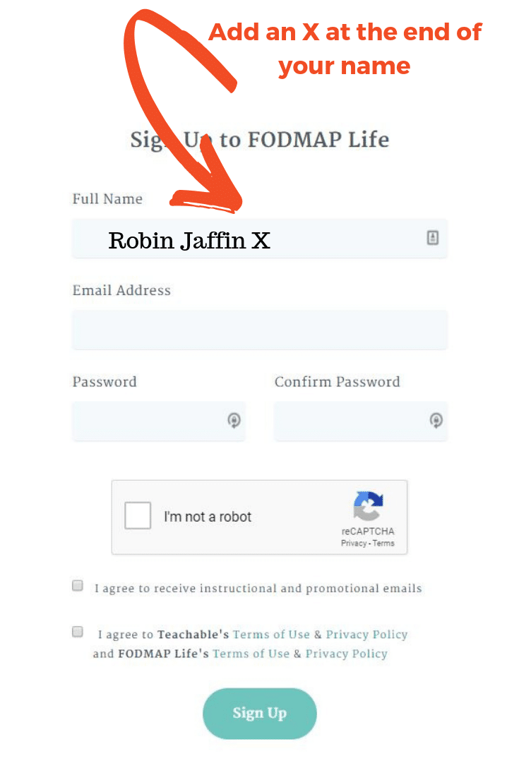 Example Sign up page for the Low FODMAP Diet Beginners Course