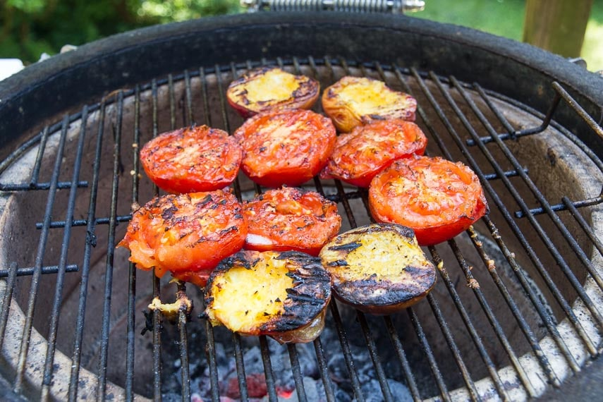 tomatoes and peaches on the grill for Grilled Tomato and Peach Salsa