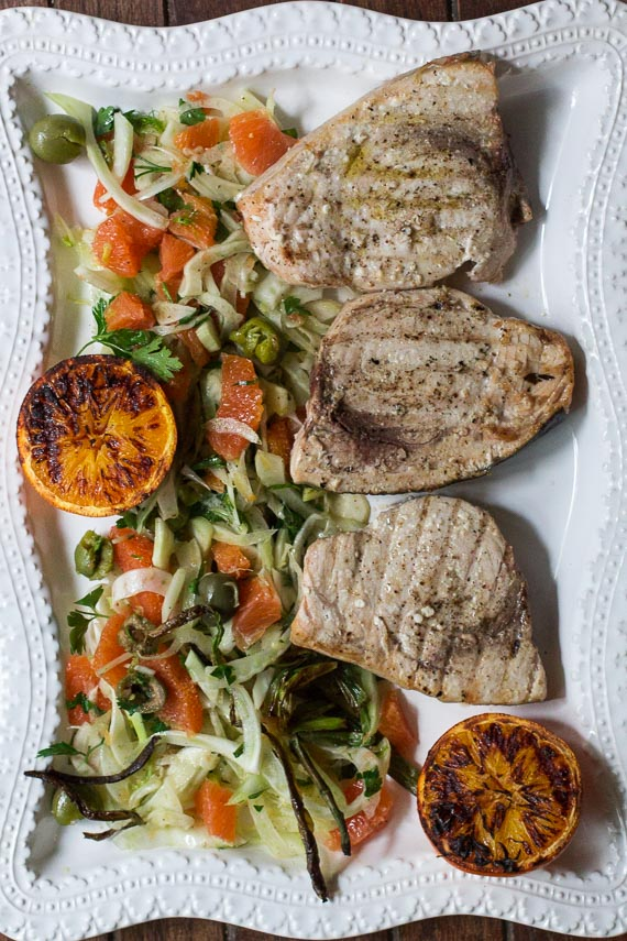 Low FODMAP Grilled swordfish with grilled oranges & fennel