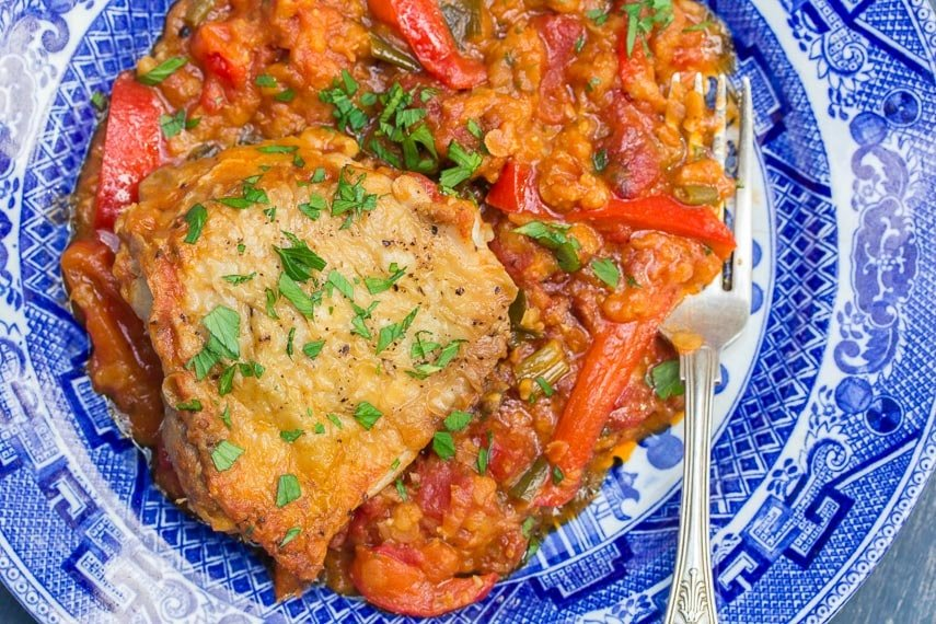 Low FODMAP Chicken & Lentils, closeup, on blue and white plate with silver fork