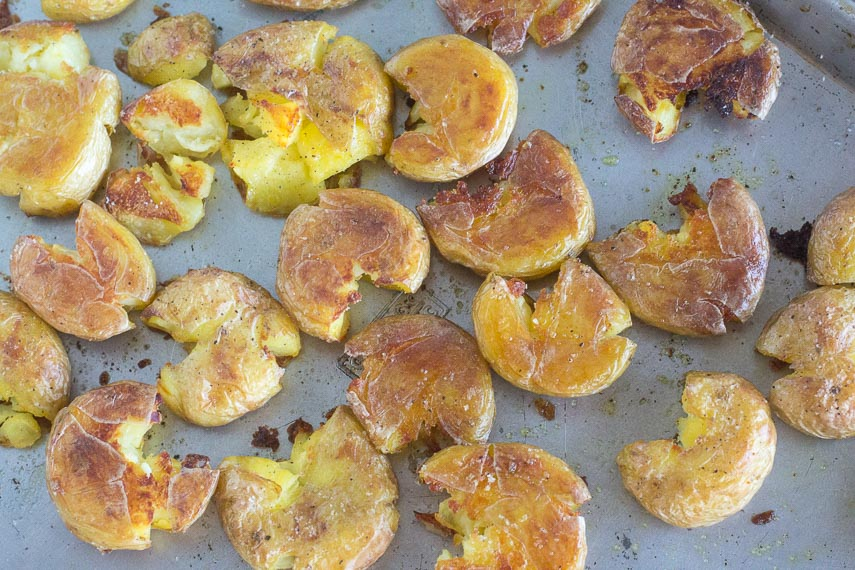 Crispy low FODMAP smashed potatoes