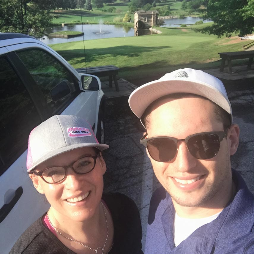 me and forrester at the 2019 World Amateur Disc Golf Championships, York PA, Heritage Hills