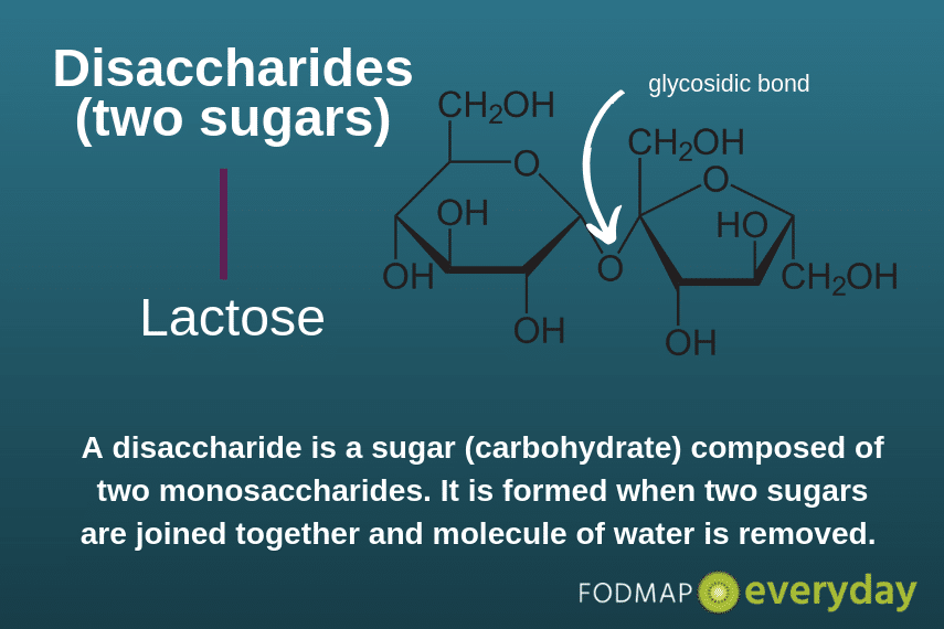 A disaccharide is a sugar (carbohydrate) composed of two monosaccharides. It is formed when two sugars are joined together and molecule of water is removed.