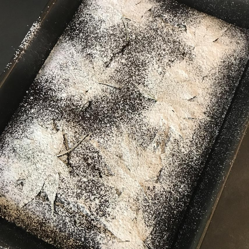 low FODMAP chocolate snack cake, dusted with confectioners' sugar