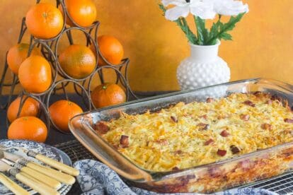 Low FODMAP Breakfast Casserole in baking dish on cooling rack