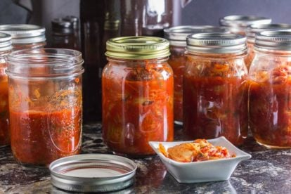 Low FODMAP Kimchi in jars and in small white dish