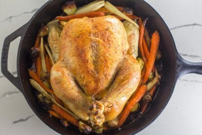 Low FODMAP whole roast chicken and vegetables in cast iron pan on white quartz