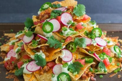 Side view of mile high low FODMAP chili nachos