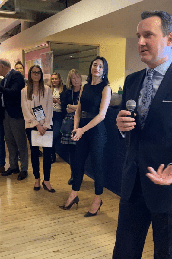Richard Bennett, Co-Founder of Epicured welcomed the guests and introduced the speakers. Standing next to him is Renee Cherkezian RN and Co-Founder of Epicured.