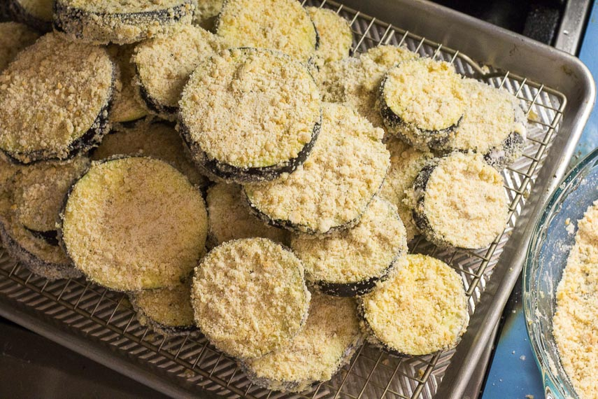 breaded eggplant ready to fry