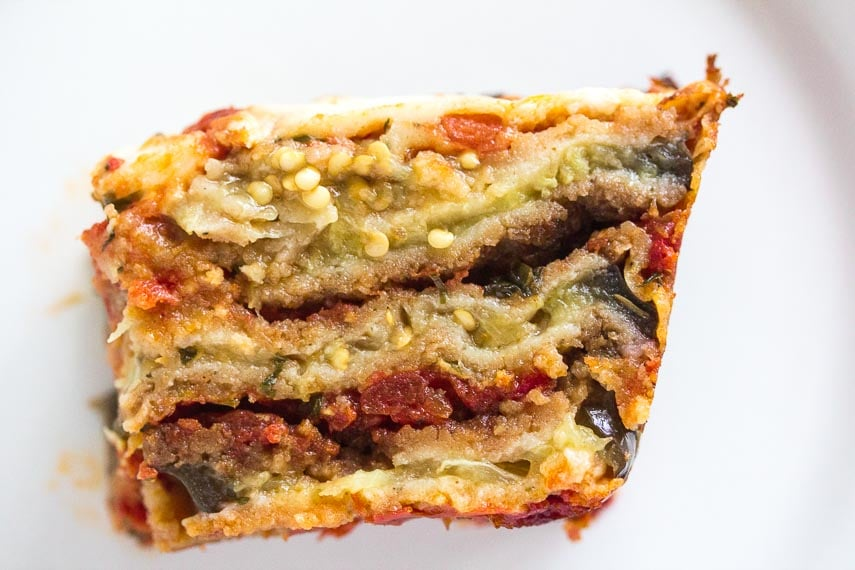 cross-section of hearty Low FODMAP Eggplant parmesan