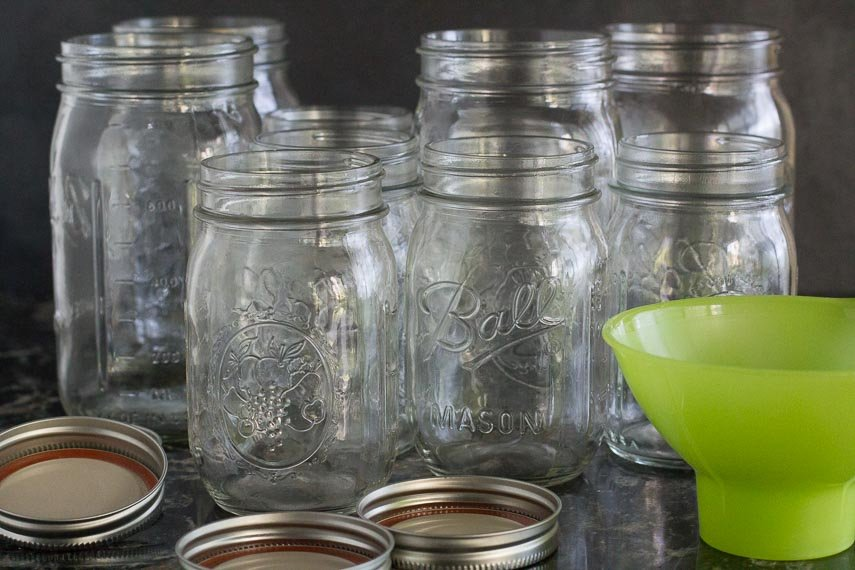 getting pickling jars ready fort kimchi; wide funnel alongside