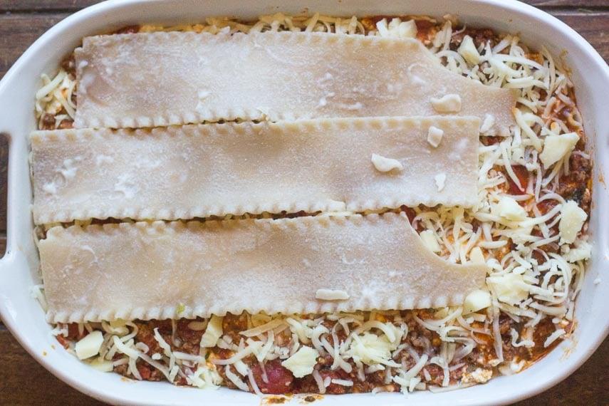 layering and creating low FODMAP lasagna