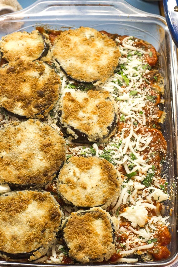layering eggplant in dish while making low FODMAP eggplant parmesan