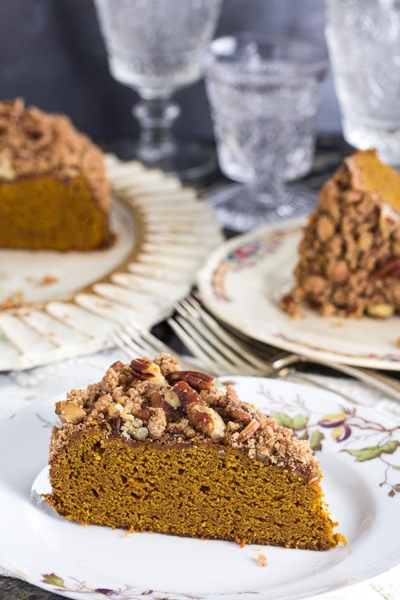 slice of Low FODMAP Pumpkin Gingerbread Streusel Coffee Cake on decorative plate