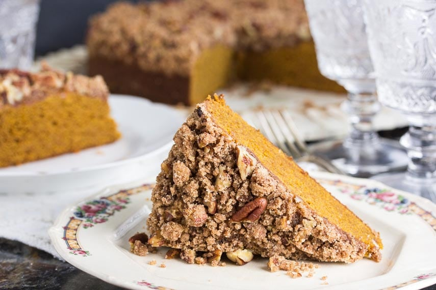 slice of Low FODMAP Pumpkin Gingerbread Streusel Coffee Cake showing streusel