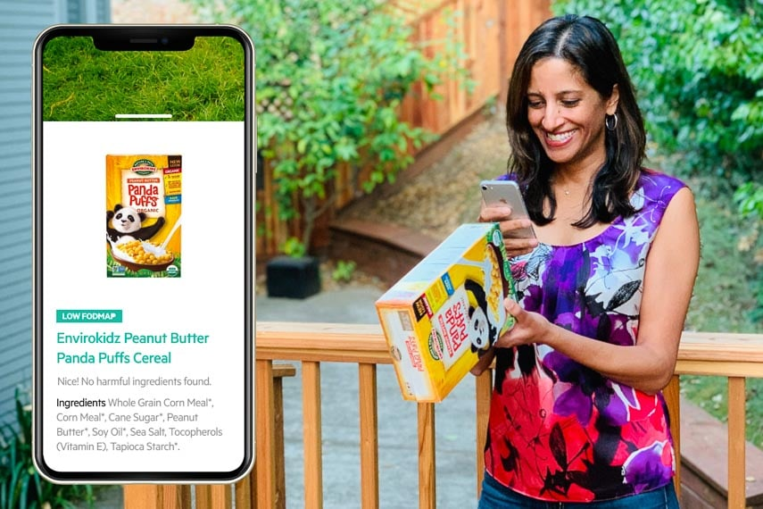 woman scanning a cereal box with her Spoonful app
