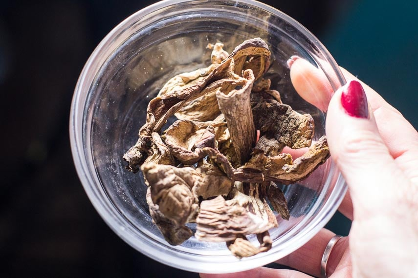 10 g of porcini mushrooms in glass bowl held by women's hand
