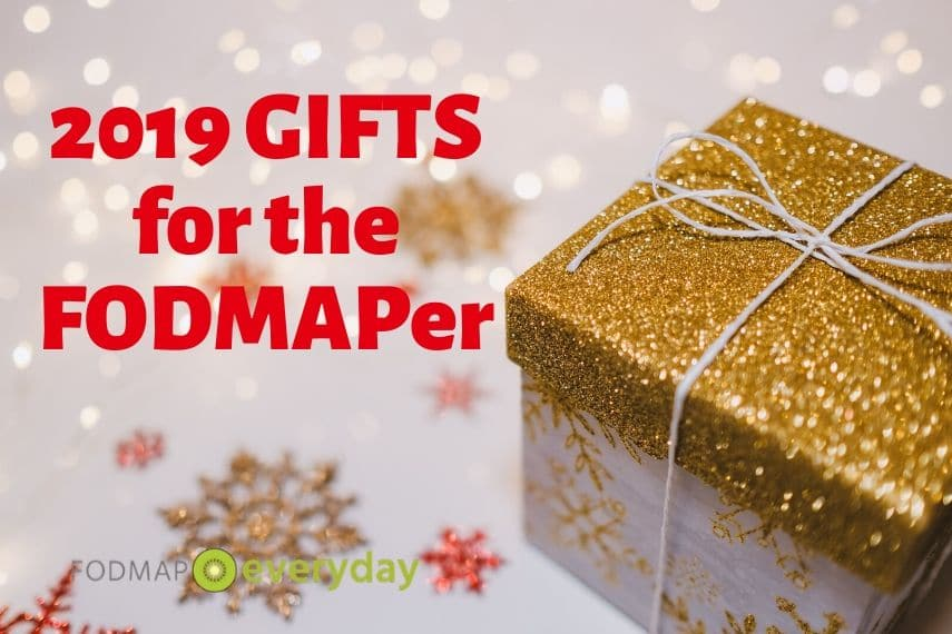Featured image for article titled 2019 Gifts for the FODMAPer with a gold glitter topped gift box and snowflakes