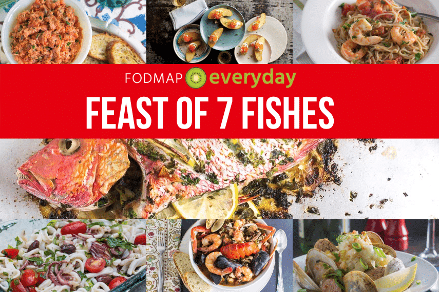 "Collage of different seafood meals with red text overlay reading ""feast of 7 fishes"""