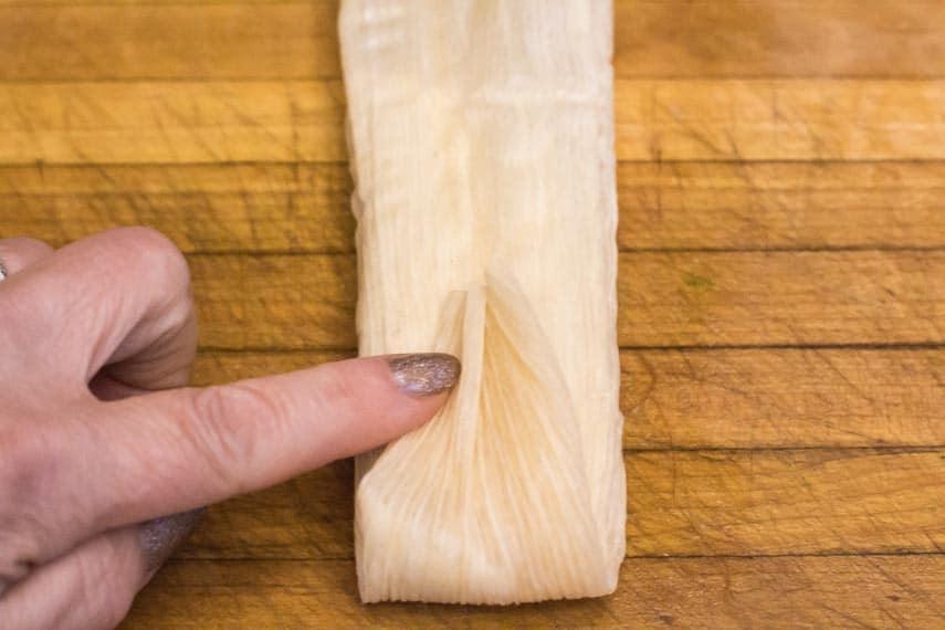 Process of folding tamales