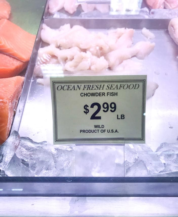 chowder fish in case at supermarket