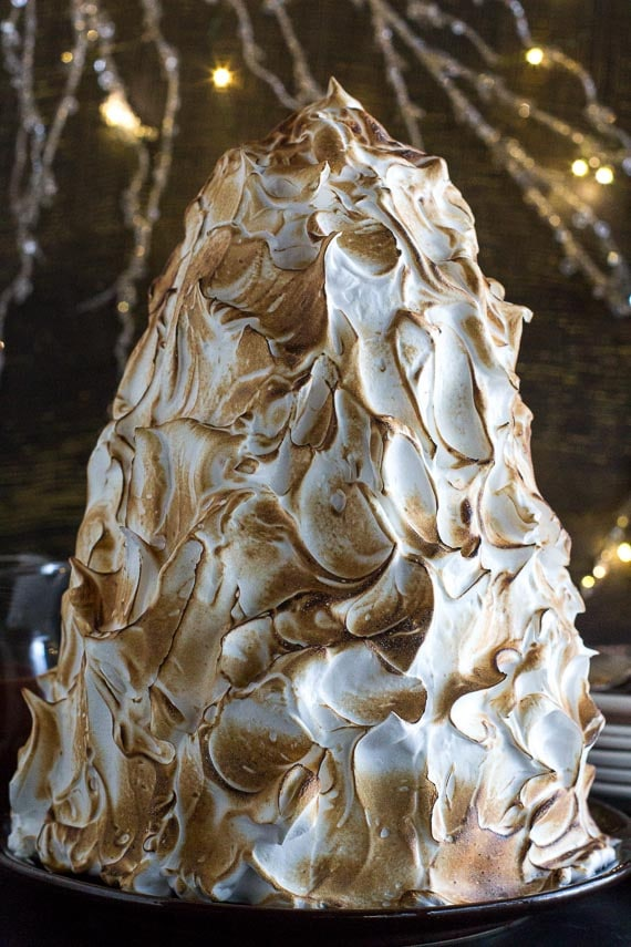 low FODMAP Baked Alaska against holiday lights